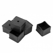 Rubber Square Shaped Furniture Legs Foot Cover 40mmx40mm 5pcs Black
