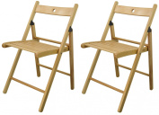 Harbour Housewares Wooden Folding Chairs - Natural Wood Colour - Pack of 2