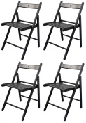 Harbour Housewares Wooden Folding Chairs - Black Wood Colour - Pack of 4