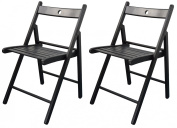 Harbour Housewares Wooden Folding Chairs - Black Wood Colour - Pack of 2