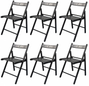 Harbour Housewares Wooden Folding Chairs - Black Wood Colour - Pack of 6