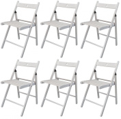 Harbour Housewares Wooden Folding Chairs - White Wood Colour - Pack of 6