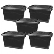 Pack of 5 Storage case, plastic box, crate with lid and wheels 40 L black