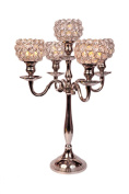5 Arm Crystal Candelabra Wedding Centrepieces Votive Candle Holders Chandeliers 49CM
