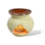 Ceramic Tea Light Holder Oil Burner in Handmade Moroccan Venetian Plaster - Pierced Arch Round Ball - W8 D8 H11 Cm - Cream