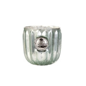 Lene Bjerre Soft Mercury Dante Glass Votive with a ribbed outer design. Perfect as a gift to a friend. 7 x 6.5 cm