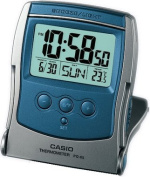 Casio Pq-65s-2 Travel Alarm Clock with Thermometer Silver Blue