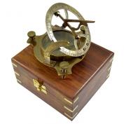 Antique Sundial Compass Replica 10cm in Hardwood Box - Solid Brass Pocket Sundial - West London