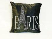 "Panache Sparkle Paris Bling Shiny Black Cushion Cover 17"" X 17"" (43cm X 43cm) Plain Black With Silver Grey Print / Printed Diamante Studded Eiffel Tower / Chenille Velvet Look Cover"