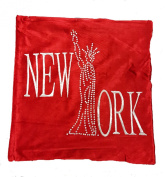 "Panache Sparkle New York Bling Shiny Red Poppy Red Cushion Cover 17"" X 17"" (43cm X 43cm) Plain Red With Silver Grey Print / Printed Diamante Studded Letter/ Chenille Velvet Look Cover"