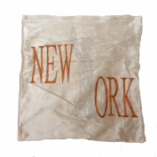 "Panache Sparkle New York Bling Shiny Mink Latte Natural Cushion Cover 17"" X 17"" (43cm X 43cm) Plain Mink With Mahogany Print / Printed Diamante Studded Letter/ Chenille Velvet Look Cover"