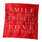 "Panache Sparkle Twinkle Bling Shiny Red Poppy Red Love Cushion Cover 17"" X 17"" (43cm X 43cm) Plain Red With Silver Grey Printed Words / Diamante Studded Letters Printed / Chenille Velvet Look Cover"