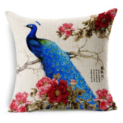 Blue Peacock In Right with Peony Flower Cotton Linen Decorative Throw Pillow Case Cushion Cover, 45cm x 45cm