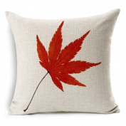Fall Red Maple Leaf Cotton Linen Decorative Throw Pillow Case Cushion Cover, 45cm x 45cm