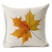 Fall Yellow Maple Leaf Cotton Linen Decorative Throw Pillow Case Cushion Cover, 45cm x 45cm
