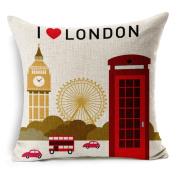I Love London Cotton Linen Decorative Throw Pillow Case Cushion Cover, 45cm x 45cm