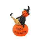 Happy Halloween Pumpkin Scarecrow Man Sitting on a Pumkin Display Figurine
