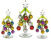 3x Glass Christmas Trees, 2x 14cm 1x 21cm Decorated with Coloured Glittered Baubles