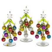 3x 21cm Glass Christmas Trees, Decorated with Coloured Glittered Baubles