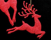 Gorgeous Gisela Graham Red glittery reindeer Christmas Tree Decoration