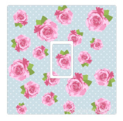 Shabby Chic Roses Pink Blue Light Switch Sticker Cover