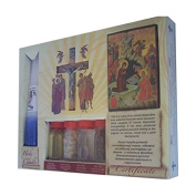 Holylandmarket - Dead Sea Anointing Oils Large Religious Samples Set - Olive Wood Crucifix, 33 Candles And An Icon