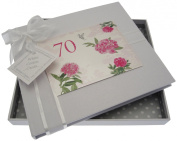 """White Cotton Cards """"70th Birthday - English Roses"""" Guest Book"""