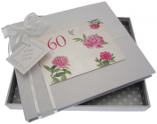 """White Cotton Cards """"60th Birthday - English Roses"""" Guest Book"""