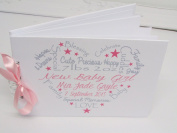 PERSONALISED NEW BABY GIRLS/BOYS MEMORY BOOK/SCRAPBOOK CONGRATULATIONS NEW MUMMY/DADDY GIFT PRESENT BABY RECORD BOOK