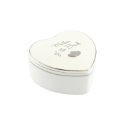 White and Silver Heart Fine China Trinket Box - Mother of the Bride Gift