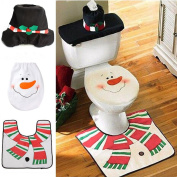 Christmas Decorations Snowman Happy Santa Toilet Seat Cover & Rug Bathroom Set
