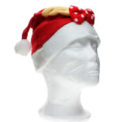 Santa Claus Costume Hat with Antlers Bowknot Christmas Party Celebration Adult Cap