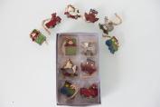 Set of 6 mini 4cm nostalgic hanging decorations (3 designs)