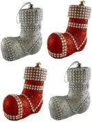 4 x 10cm Glitter Luxury Santa Boot With Diamante Decoration - Christmas Tree Decoration