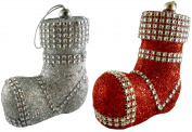 2 x 10cm Glitter Luxury Santa Boot With Diamante Decoration - Christmas Tree Decoration