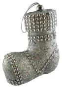 10cm Silver Glitter Luxury Santa Boot With Diamante Decoration - Christmas Tree Decoration