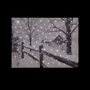 Snowtime Snowy Canvas Scene Country House with LED lights