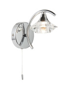 Vegas Modern 1 Light Polished Chrome and Crystal Wall Light with Switch