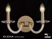 Elena Wall Lamp Switched 2 Light French Gold/Crystal