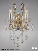 Vela Wall Lamp Switched 2 Light French Gold/Crystal