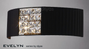 Evelyn Wall Lamp With Black Shade 2 Light Crystal