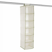 Clothes Organiser - 6 Pocket - Light Cream