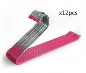 HLC 12 PCS Metal Open-end Non Slip Black Slacks Pant Hangers Trouser Hangers