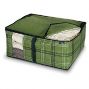 Domopak Living Non Woven Blanket Storage Cover Bag, Green Tartan, Large