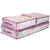 Paylak SCR455PK Set of 3 Storage Bags Under the Bed Pink Flowers