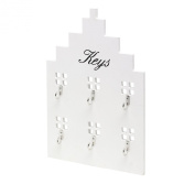 Townhouse Style White Wooden Wall Mounted 6 Hook Key Rack Hooks