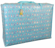 Extra Large storage bag 115 litres. Blue Beach huts pattern. Toys, washing and laundry bag