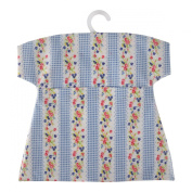 Neoviva Waterproof Clothespin Peg Bag with Plastic Hanger, Floral Striped Blue