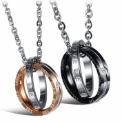 Dixivi Jewellery a Pair Valentine Couple Matching Interlocking Double Rings Engraved Promise Necklace Sets