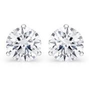 0.30 ct Ladies Round Cut Diamond Martini Setting Stud Earrings In 14 Karat White Gold